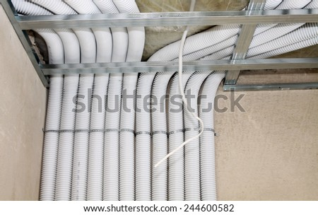 Air ventilation system in passive house - stock photo