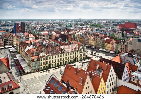 Air view panorama of Wroclaw (Breslau), Poland. - stock photo