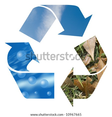 air, wind and earth recycle sign for earth - stock photo