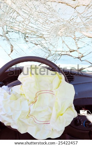 Airbag deployed after a crash. - stock photo