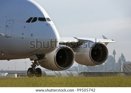 Airbus A380 airliner taxiing on the runway - stock photo