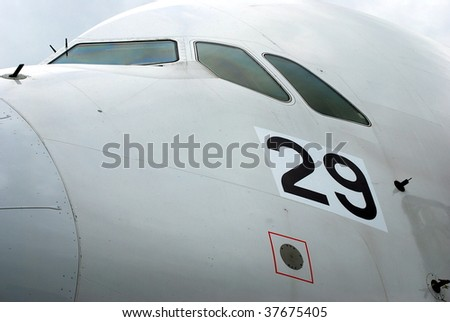 Airbus A380 cockpit close-up - stock photo