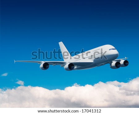 Airbus A380 flying in blue sky, 3D rendering - stock photo