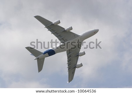 Airbus A380 in the Air without trademarks - stock photo