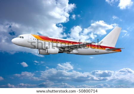 Airbus A-320 in the sky. Plane - stock photo
