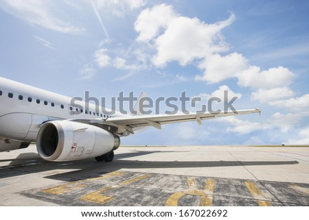 Airbus aircraft on airport; Koh Samui; Thailand - stock photo