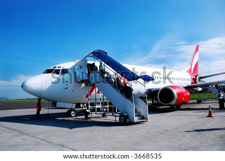Airbus loading the passengers - stock photo