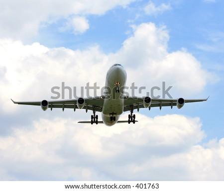 airbus 340 taking off - stock photo
