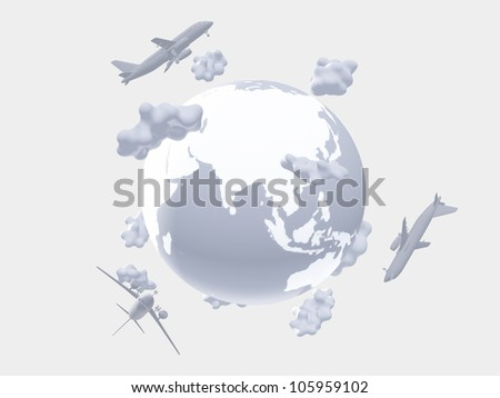Aircraft above earth - stock photo