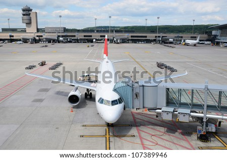 Aircraft at boarding - stock photo
