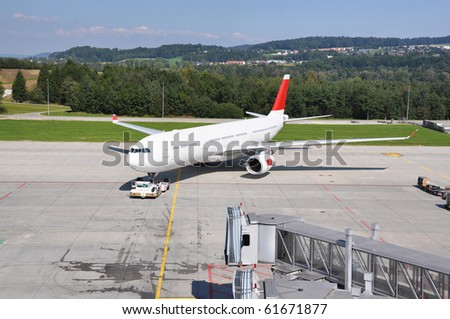 Aircraft at the airport - stock photo