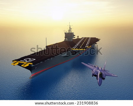 Aircraft Carrier and Combat Aircraft Computer generated 3D illustration - stock photo