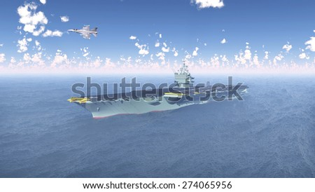 Aircraft Carrier and Fighter Plane Computer generated 3D illustration - stock photo