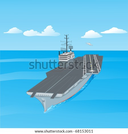 Aircraft carrier floating on waves with plane flying up from it a  illustration - stock photo