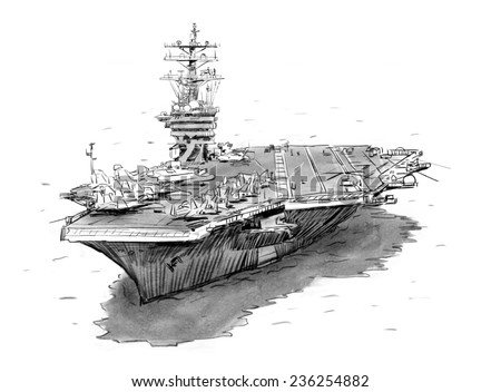 Aircraft carrier hand sketch drawing - stock photo
