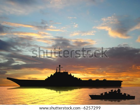 Aircraft carrier on sea near Iraq over sunset - stock photo