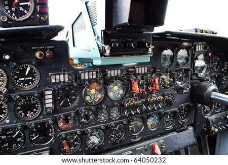 Aircraft cockpit, dashboard closeup