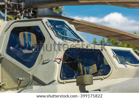 aircraft cockpit installed on Russian military helicopter - stock photo