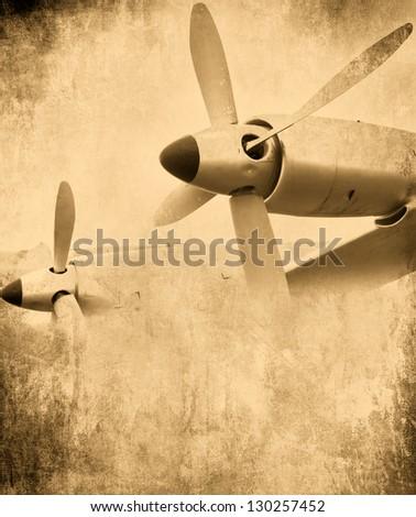 Aircraft engine, Aviation grunge background - stock photo