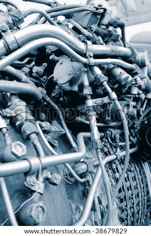 Aircraft engine steampunk looking structure - stock photo
