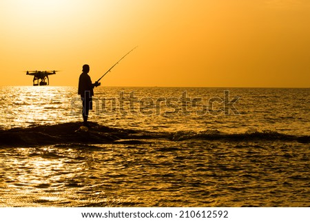 aircraft & Fishing man ,Fishing on the rocks ,Fishing on the rocky beach