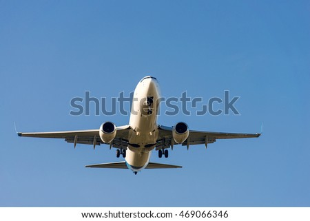aircraft flying in the sky. front view