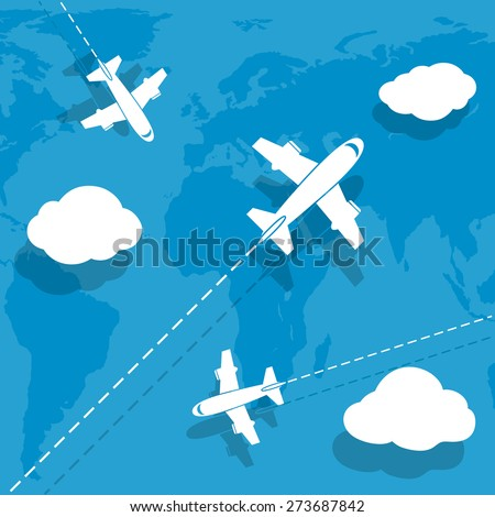 Aircraft flying over earth map - stock photo