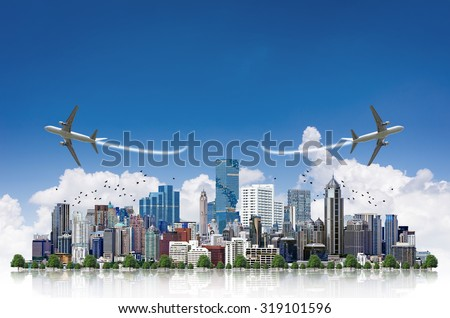 Aircraft flying over modern building in the business district,Travel Concept. - stock photo