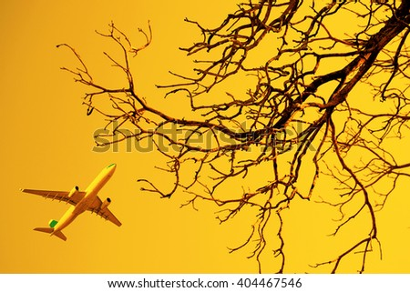 Aircraft flying through dry tree, yellow background - stock photo