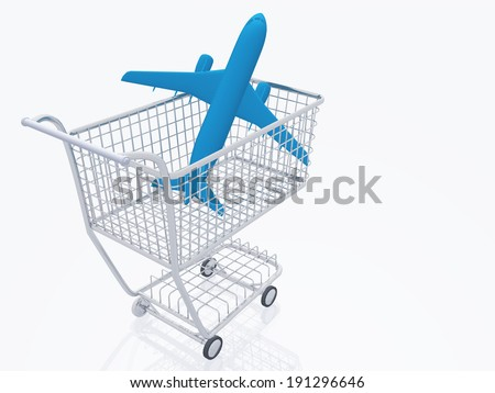 Aircraft in shopping trolly - stock photo