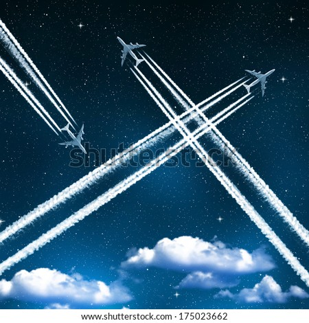 aircraft in the night sky - stock photo