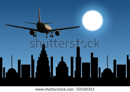 aircraft in the sky over the city at night