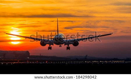 Aircraft Landing  - stock photo