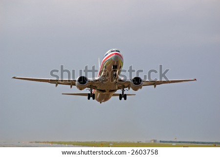 aircraft on take-off - stock photo