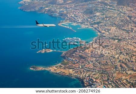 aircraft over the kusadasi  - stock photo