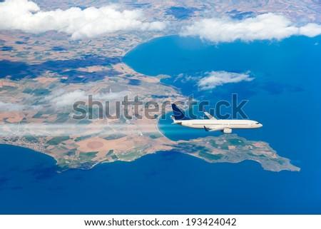 aircraft over the VAN Lake - stock photo