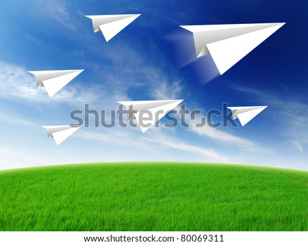 aircraft paper fold to success for design rocket paper - stock photo