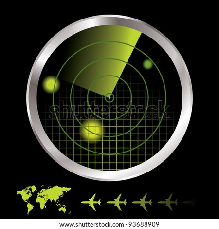 Aircraft radar for airport with world map and plane icon - stock photo