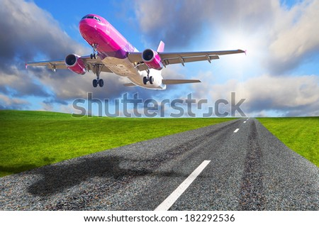 Aircraft starting from the airport runway - stock photo