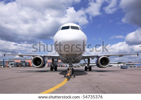 Aircraft Transport Airport Parking  flying  flying air airplane - stock photo