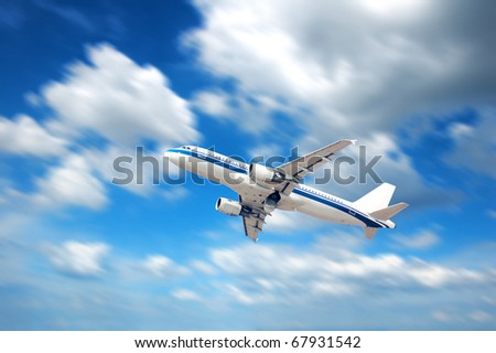 Aircraft under the blue sky.