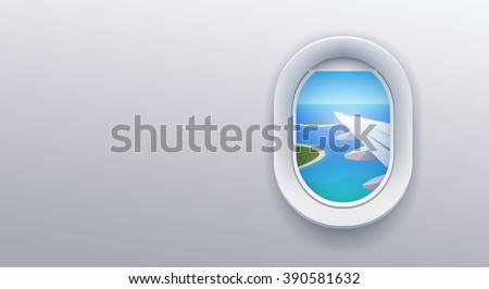 Aircraft window. Airline passenger. Summer holiday. Flat web  banner. - stock photo