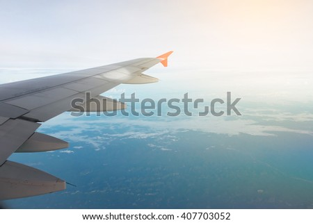 aircraft wing on the air.