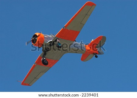 Aireal shot of a harvard training aircraft - stock photo