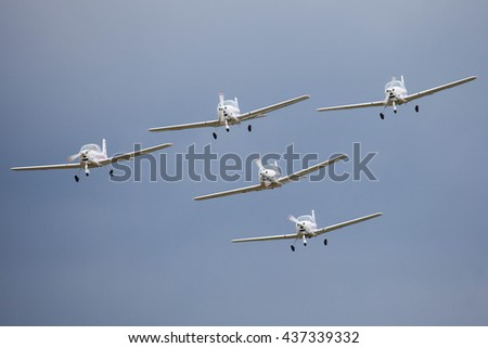 "Airfield ""Black"", MOSCOW REGION, RUSSIA - JUNE 11, 2016: The championship of Russia on helicopter sports. Aerobatic team. Tecnam P2002 Sierra"