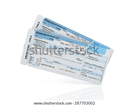Airline boarding pass tickets on a white background. - stock photo