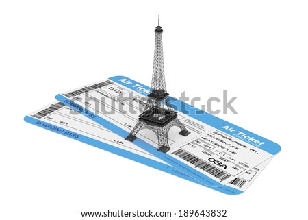 Airline boarding pass tickets with Eiffel Tower on a white background - stock photo