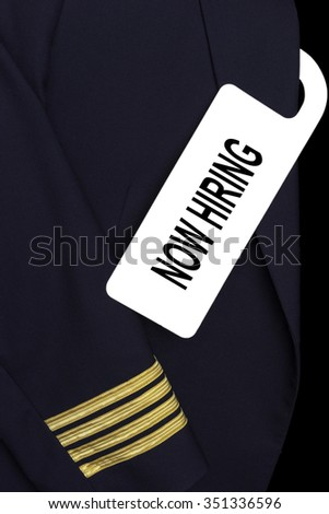 Airline Captain uniform with a tag. NOW HIRING