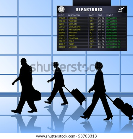 Airline passengers with luggage walking past a flight departures information board. A vector illustration version of this image is also available in my portfolio. - stock photo