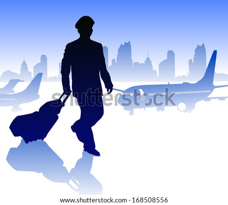 Airline pilot with luggage. Raster version   - stock photo